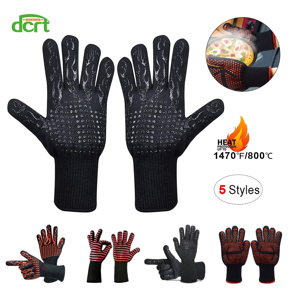 5 Styles 500-800 Centigrade Extreme Heat Resistant BBQ Gloves Cooking Baking Grilling Oven Mitts