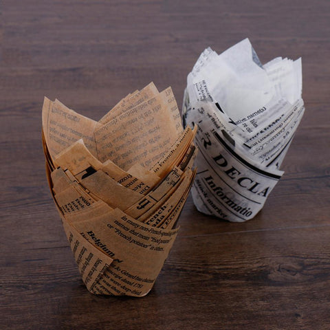 50PCS Newspaper Baking Paper Box Cake Cupcake Liner Decorating Tools Paper Cupcake Baking Muffin Case
