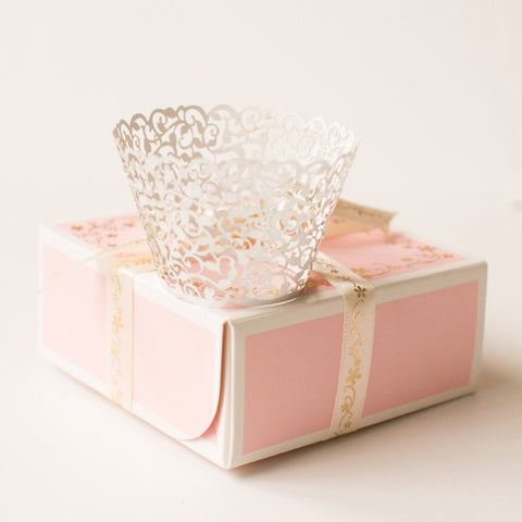 50Pcs/pack Filigree Vine Cake Cupcake Wrappers Wraps Cases Wedding Birthday Decorations Ivory