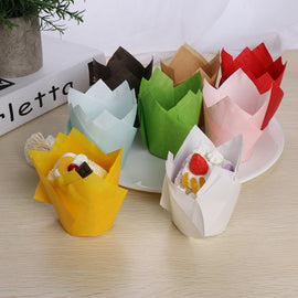 50Pcs/pack Paper Cupcake Liner Mold Tulip Flower Chocolate Cupcake Wrapper Baking Muffin Liner