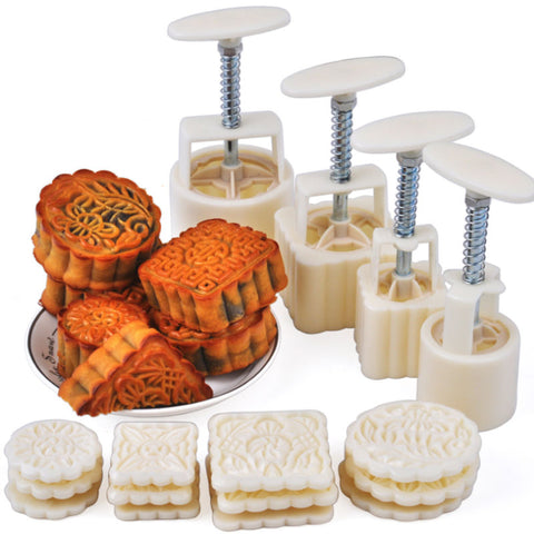 50g and 100g moon cake mold hand-pressed round and square DIY cake tools cookies dry cracker cookies
