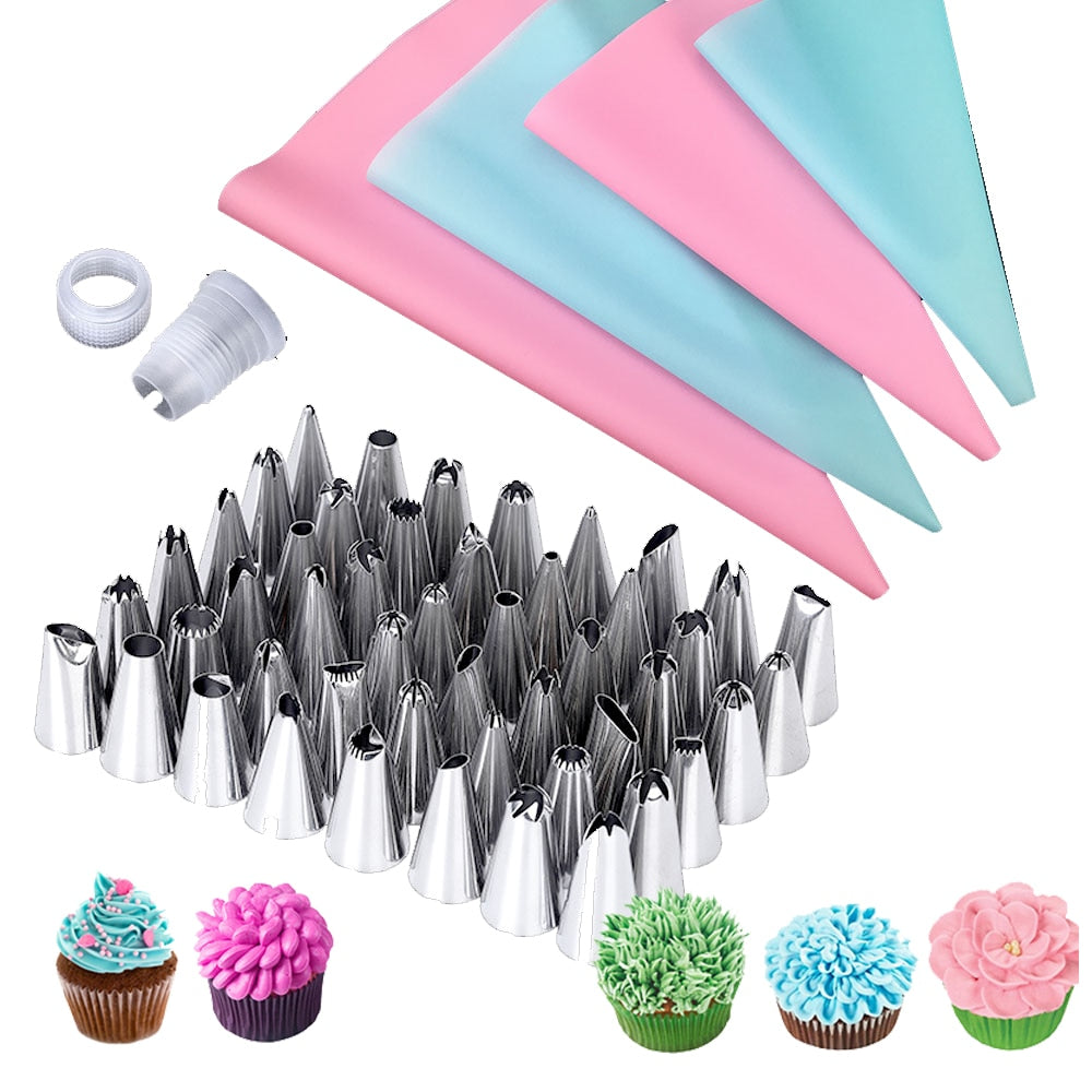 57Pcs/Set 4Size Pastry Bag +48x Pastry Nozzles+5x Converter Nozzles for Confectionery Bag for