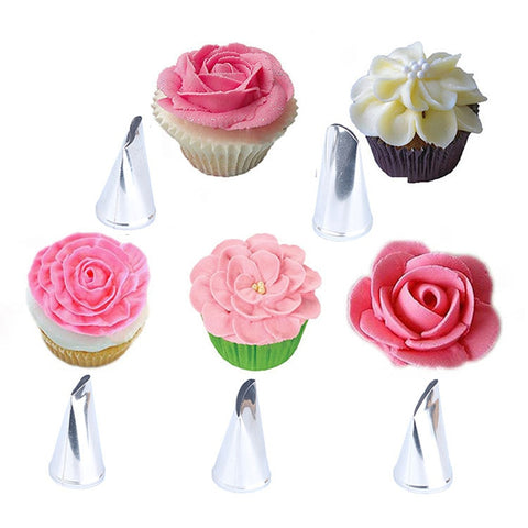 5PCS 304 Stainless Steel DIY Craft Flower Rose Icing Piping Nozzles Cream Petal Pastry Cake