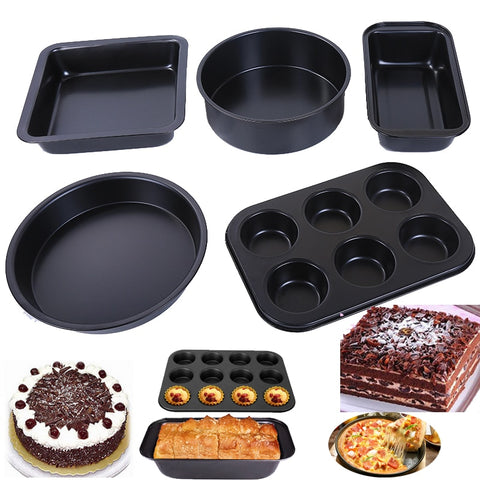 5pcs Set Non-Stick Cake Pans Bakeware Cupcake Pizza Toast Carbon Steel Cake Molds Round, Square, Rectangle