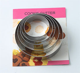 5pcs/set Round Circle Shape Metal Cookie Cutter Kitchen Bakeware Birthday Fondant Cake Mold