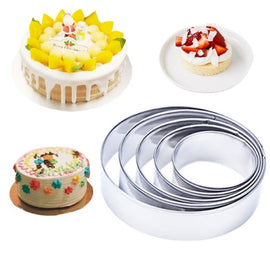 5pcs/set Round Circle Shape Metal Cookie Cutter Kitchen Bakeware Birthday Fondant Cake Mold Chocolate Stencils Baking Tools