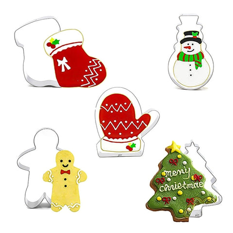 5pcs/set Xmas Christmas Cookie Form Cutters Fondant Cake Decorating Biscuit Cake Mold Aluminum Alloy