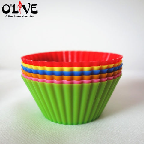 6 Pcs Silicone Mold Cake Stencil 7CM Round Mufiin Cupcake Silicon Cups Forms Silicone Bakeware