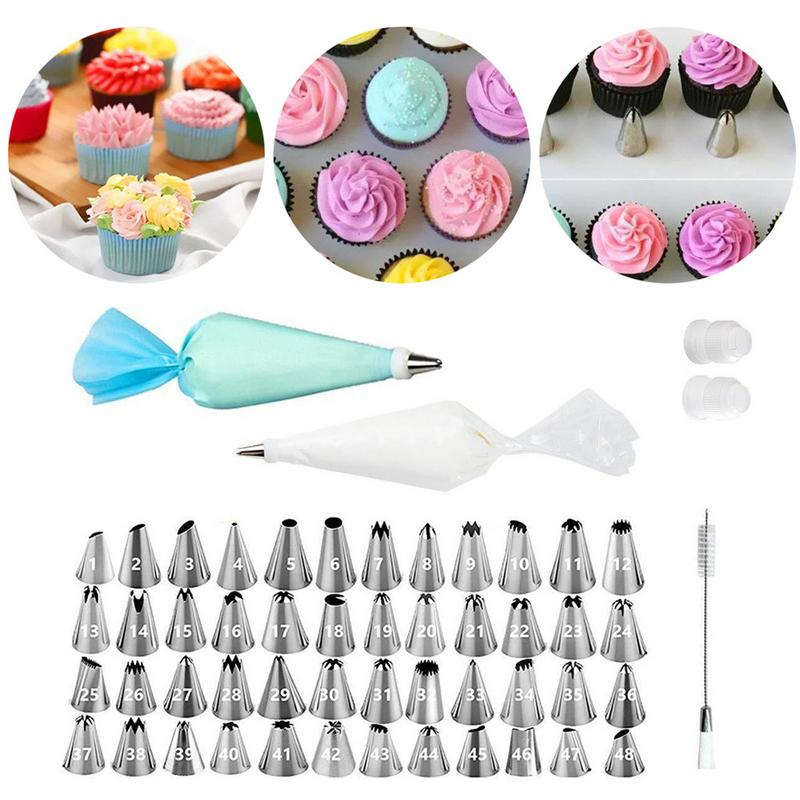 64 PCS/Set Silicone Kitchen Accessories Icing Piping Cream Pastry Bag + 48 Stainless Steel Nozzle