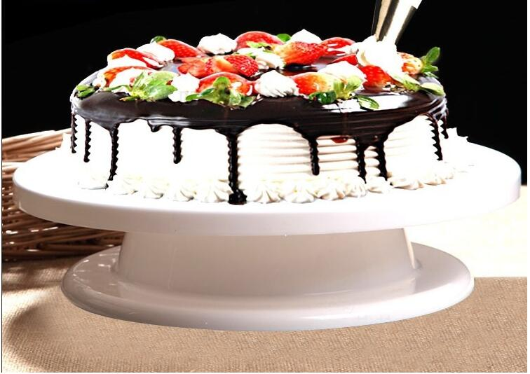 6PCS/Set Plastic Cake Rotating Plate Turntable Cake Dough Knife Decorating 10 Inch Cream Cakes Stand