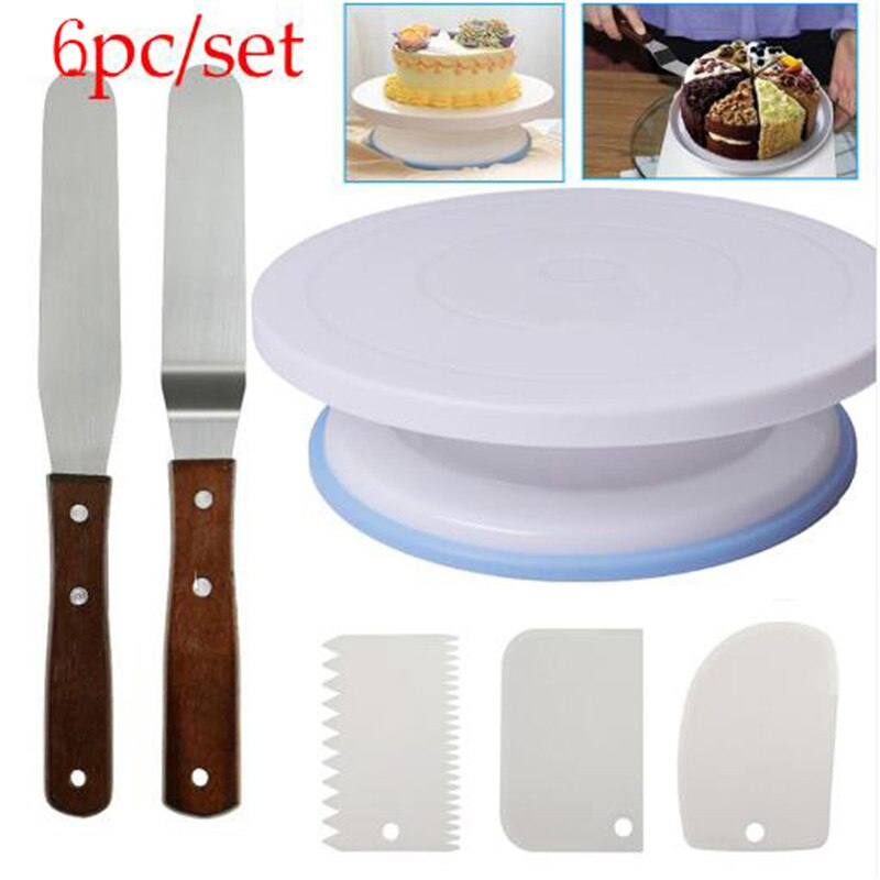 6PCs/Set Plastic Cake Turntable Rotating Cake Plastic Dough Knife Decorating 10 Inch Cream Cakes