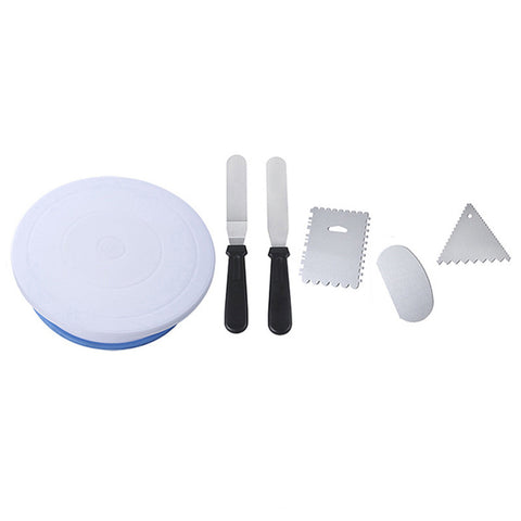 6PCs/Set Plastic Cake Turntables Rotating Cake Plastic Dough Knife Stand Cake Decorating Rotary