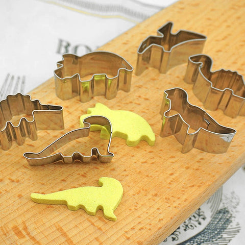 6Pcs/set Baking Tools For Cookies Stainless Steel Dinosaur Shape Cookie Fruit Cutters Biscuit Mold