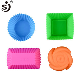 6pcs Silicone Mold Heart Cupcake Soap Silicone Cake Mold Muffin Baking Nonstick and Heat Resistant