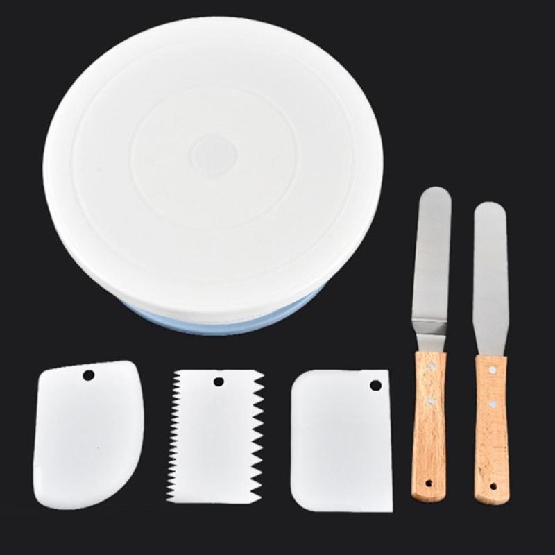 6pcs/set Round Plastic Cake Plate Turntable Shovel Spatula Rotating Cake Stand Anti-skid Kitchen DIY