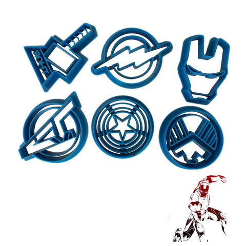 6pcs/set The Avengers Alliance Super Hero Cookie Cutter Sugar Mold Superheroes Biscuit Cake