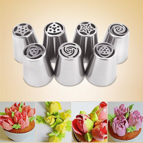 7 PCS/Set Russian Tulip Icing Piping Nozzles Stainless Steel Flower Cream Pastry Tips Nozzles Bag