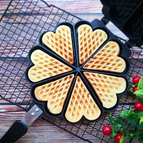 7 Slot Aluminum Alloy Waffle Maker Cake Mould DIY Biscuit Dessert Mould Bake Mould Gas Stove