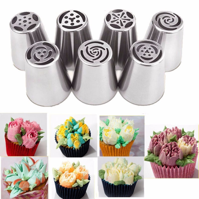 7 pcs Stainless Steel Russian Tulip Icing Piping Nozzles Cake Decoration Cream Tips DIY Cake Tool