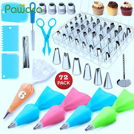 72pcs Cake Decorating Supplies Sets with Icing Tips, Pastry Bags, Icing Smoother, Piping Nozzles