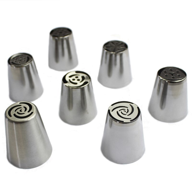 7Pcs/Set Russian Nozzles Tulip Tips Icing Piping Nozzles Cream Pastry Decorating Tips Set Cake