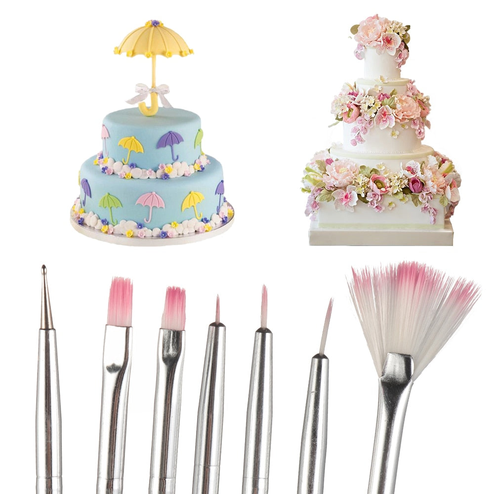 7pcs/set Fondant Cake Painting Brush Decorating Painting Dusting Promotion Icing Pastry Cake