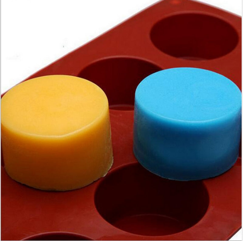 8 Holes Round Silicone Cake Mold 3D Handmade Cupcake Jelly Cookie Mini Muffin Soap Maker DIY