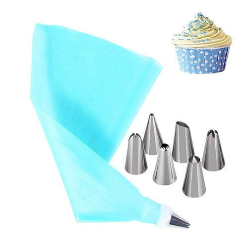 8PCS Pastry Nozzles And Coupler Icing Piping Tips Sets Stainless Steel Rose Cream Bakeware Cupcake