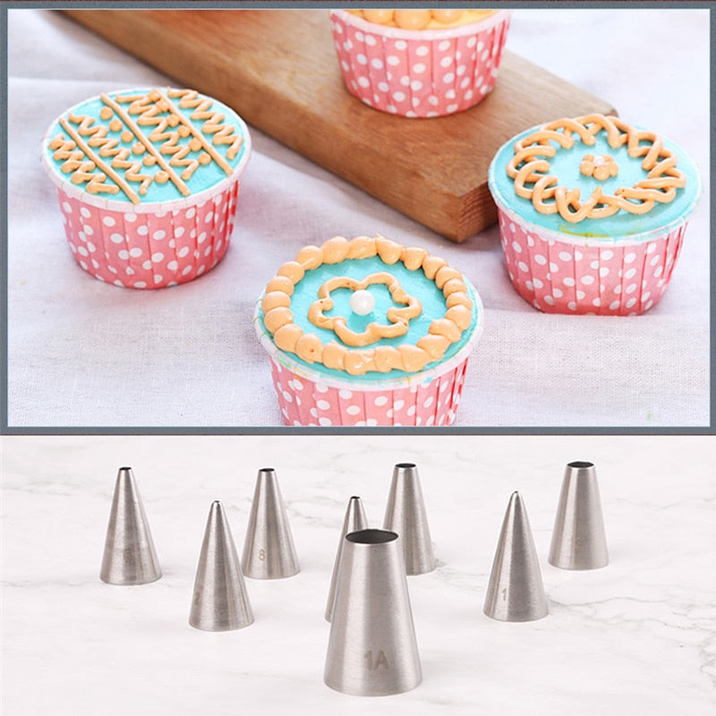 8pcs Round cake cream nozzles icing piping nozzles DIY Cake Decorating Tools Stainless Steel Tubes
