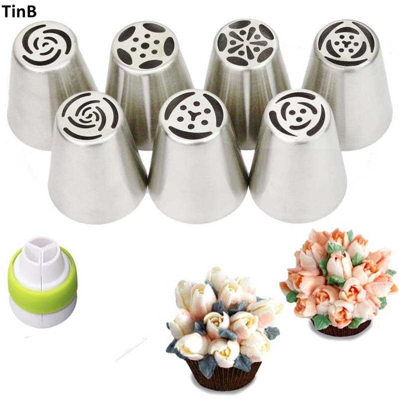 8pcs/set Russian Tulip Stainless Steel Piping Icing Nozzle for Cream Pastry Accessories Cake Cream