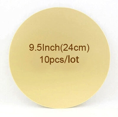 9.5Inch 24cm 10pcs/lot Gold Cake Circle Cardboard Base disposable Mousse Paper Cake Tray Free