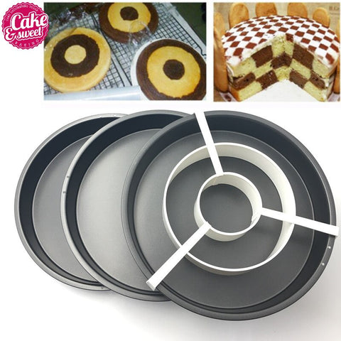 "9""Non-Stick Baking Pan Tin Divider Set 4pc/set 3Baking Cake Pan with 1Cake grid Pizza Pan Kitchen"