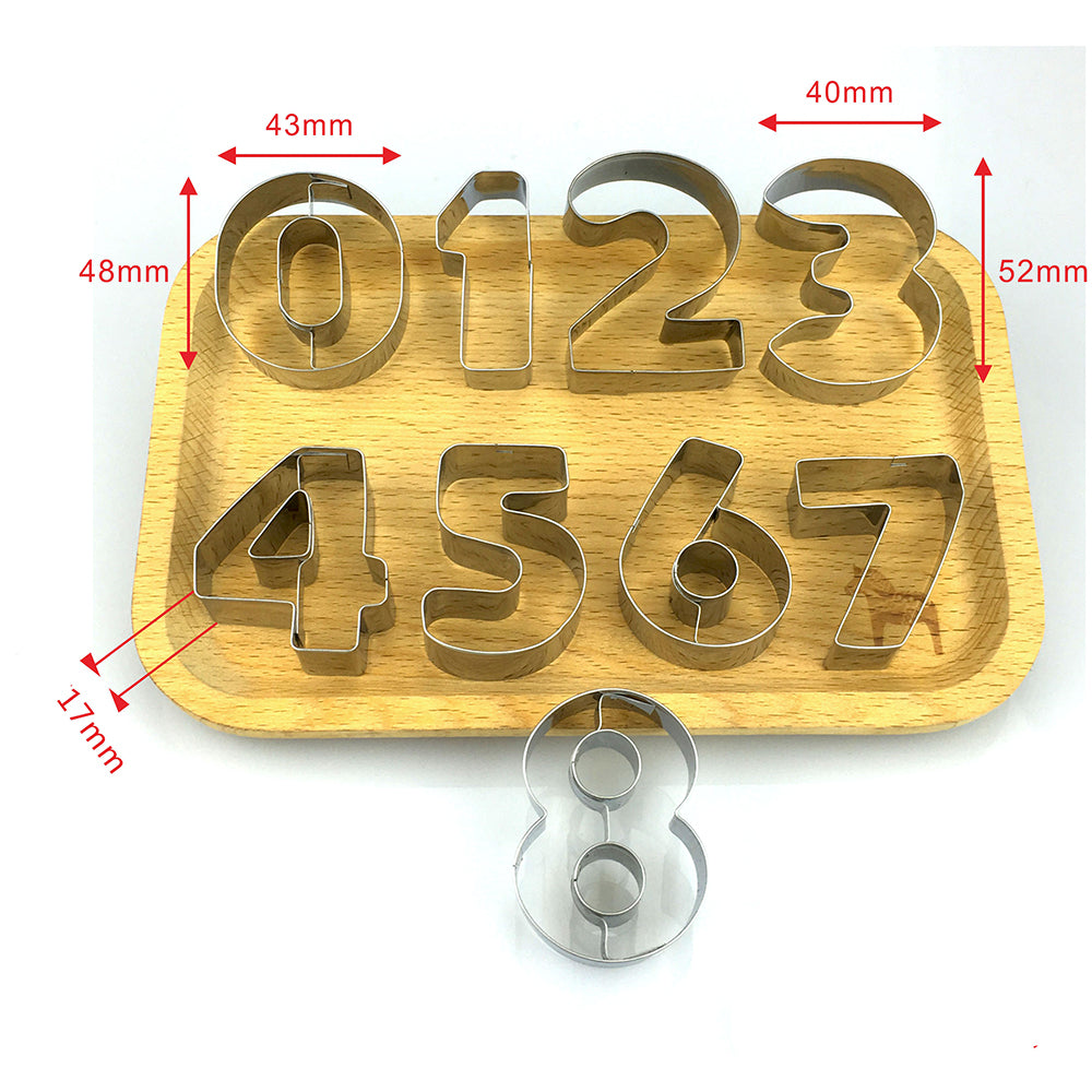9pcs/set Large Size 0-8 Number Shape Cookie Cutter Stainless Steel Cookies Mold Fondant Biscuit