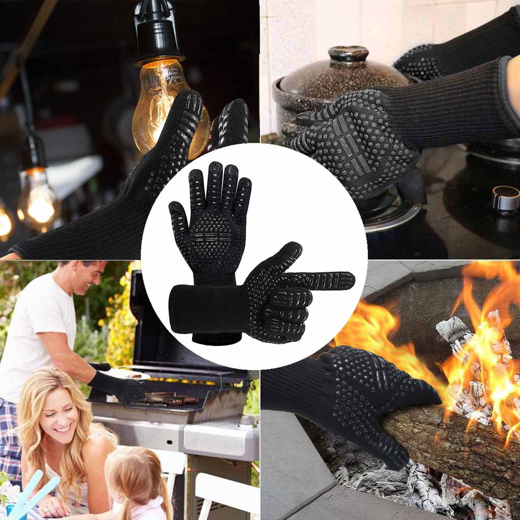 2pcs Heat Resistant Thick Silicon Kitchen Barbecue Oven Glove BBQ Grill Oven Mitt Baking
