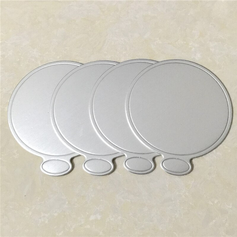 100pcs/Set Round Cake Silver Paper Mousse Cake Boards Dessert Displays Tray Birthday Cake