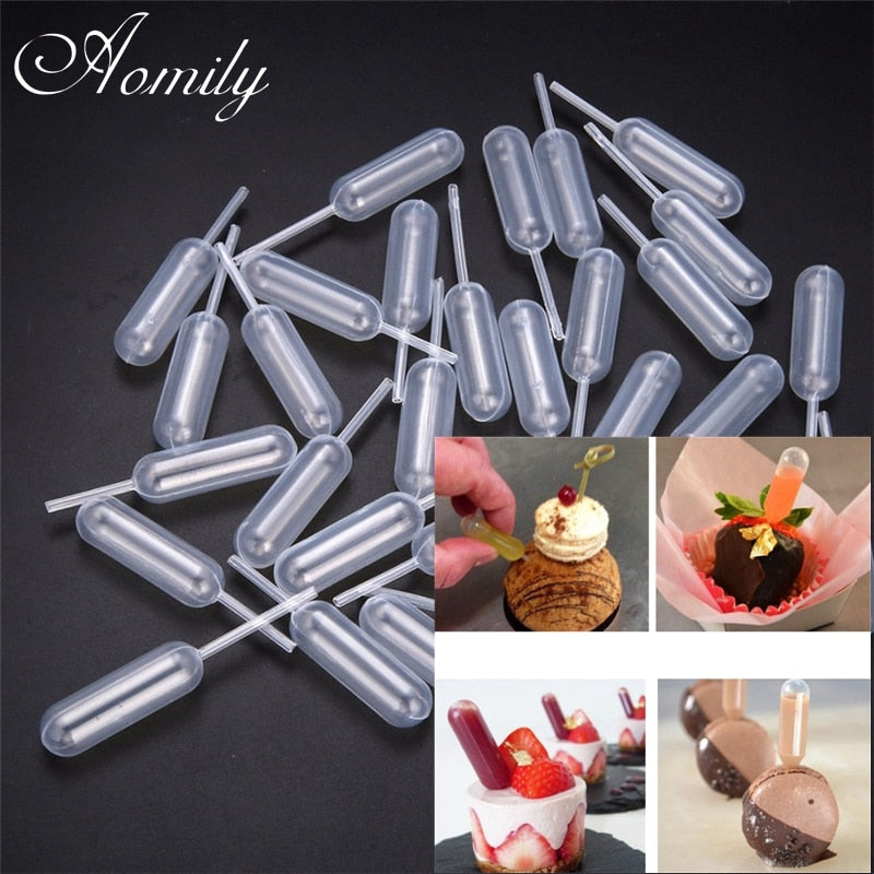 Aomily 50pcs/Set Ice Cream Jelly Milkshake Droppers Pipette Straw Dropper Disposable Straw Cupcake