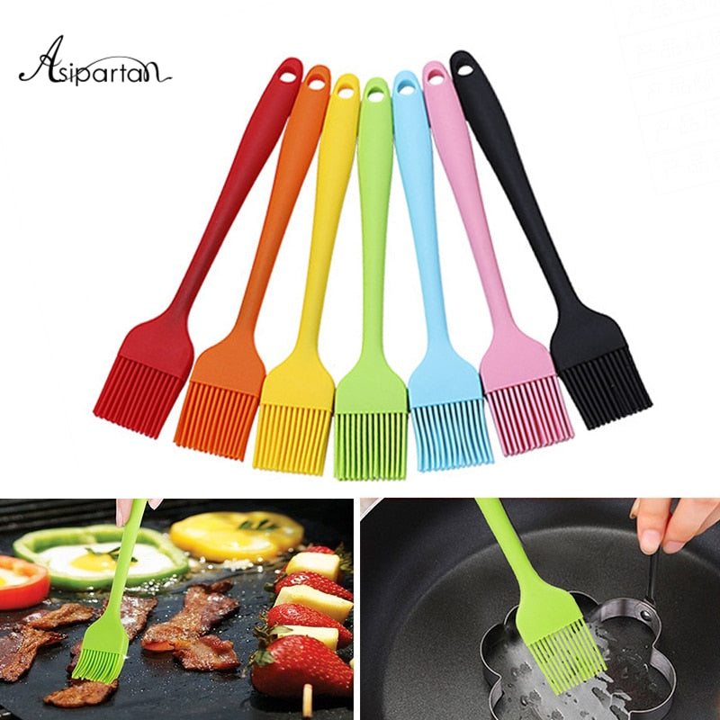 Asipartan 1pc Silicone Baking Pastry Brushes Heat-resistant BBQ Cake Oil Brush for Barbecue Grill