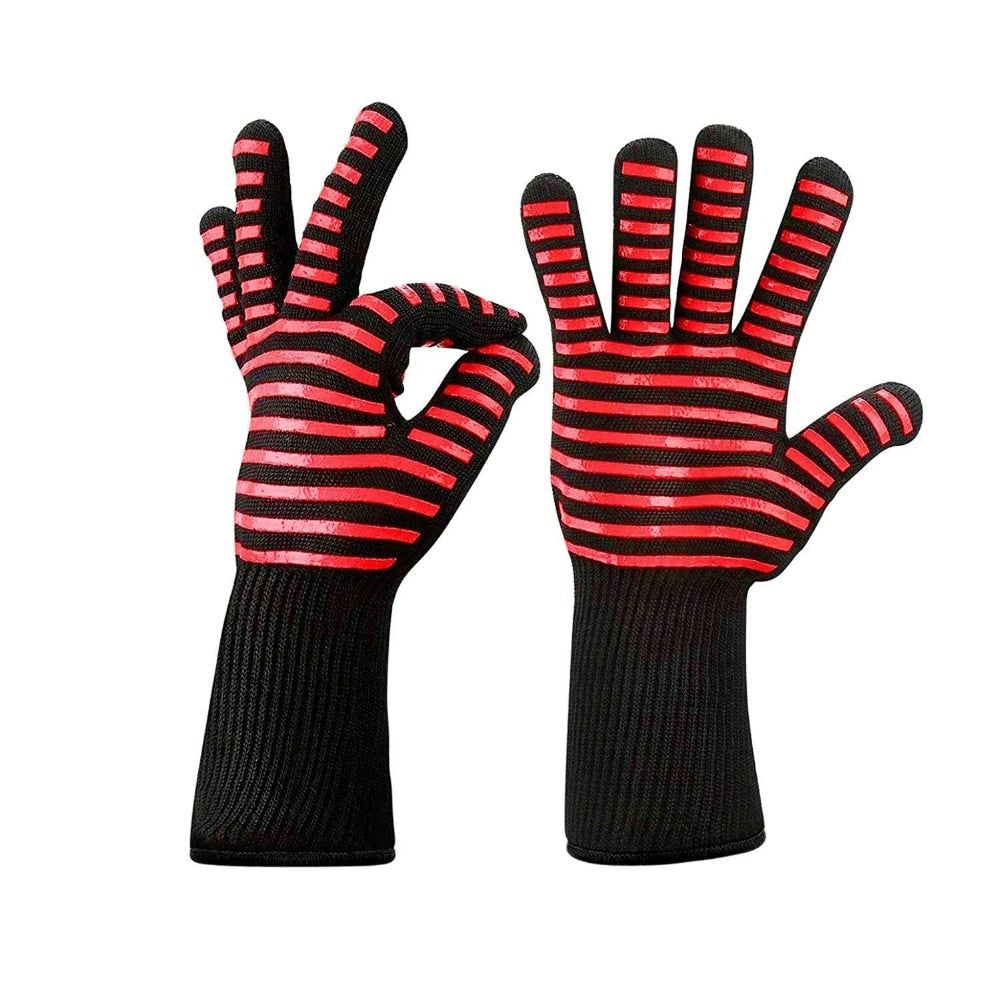 BBQ Gloves 932F 1472F(500C 800C) Extreme Heat Resistant Silicone Mitts, Best for Grilling,