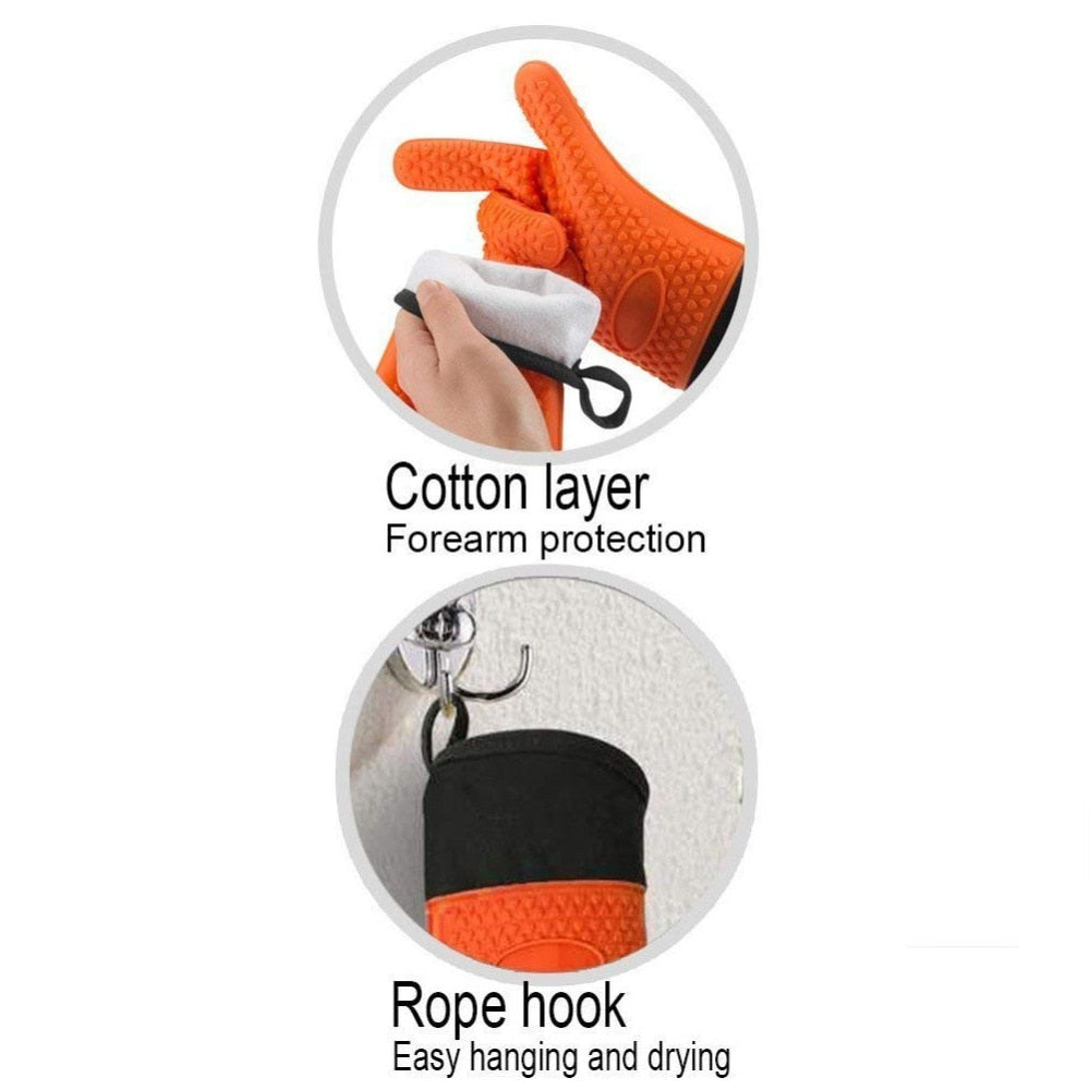 BBQ Silicone Grilling Gloves,Heat Resistant Oven Mitts Non-slip Potholder with Extended Forearm
