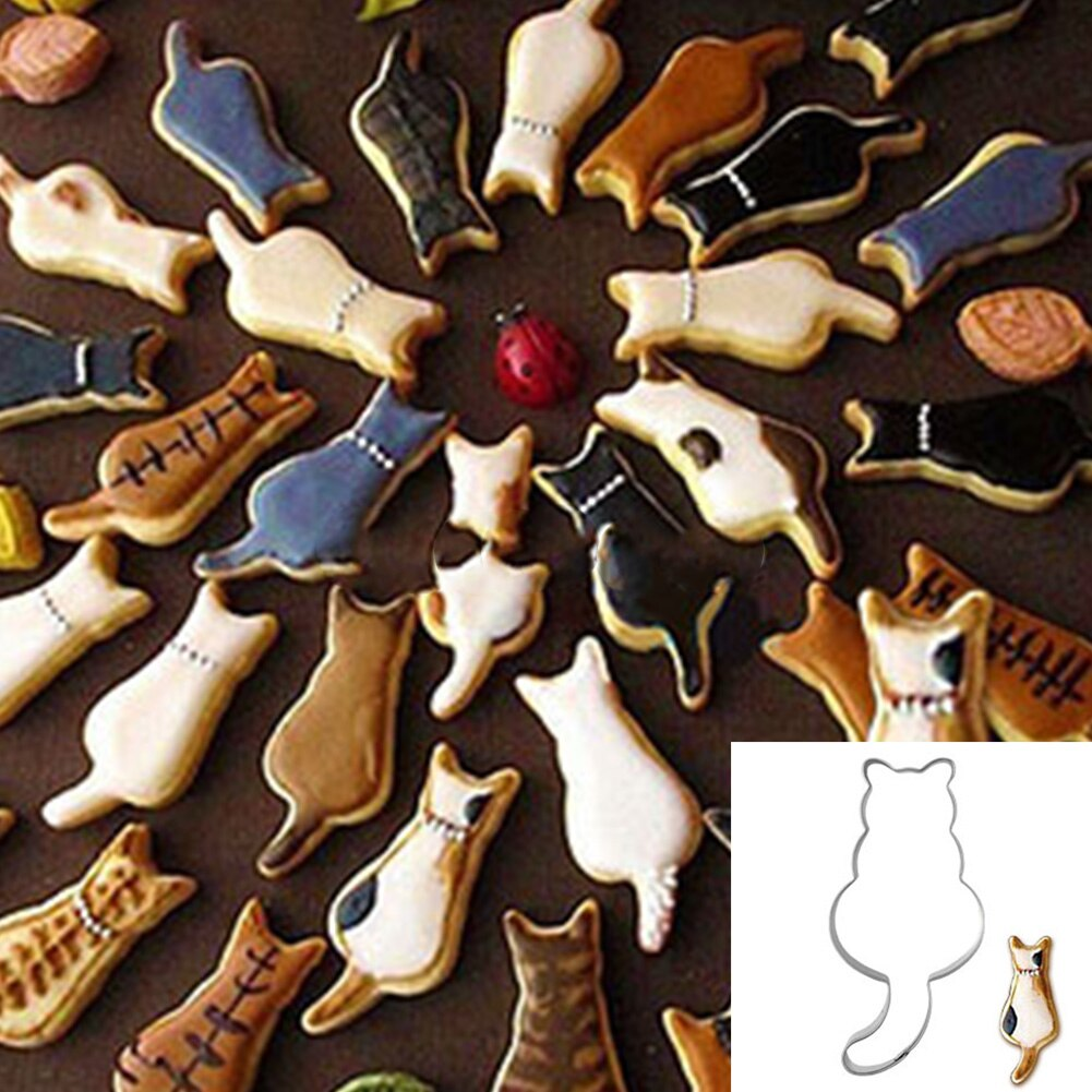 Bakeware Stainless Steel Cat Shape Kitchen Tools Food Making DIY Biscuit Mold Pastry Cookie Cutter