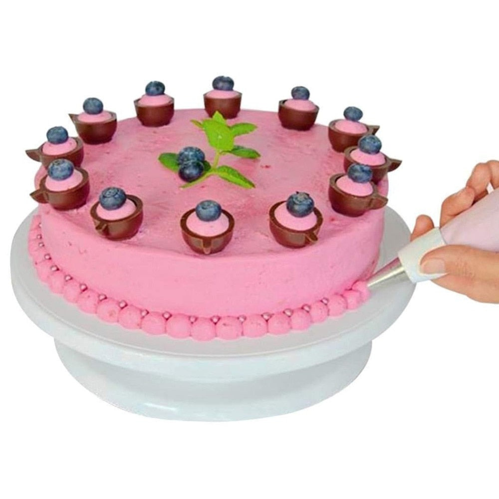 Baking Tool DIY Pan Plastic Cake Plate Turntable Rotating Anti-skid Round Cake Stand Cake Decorating