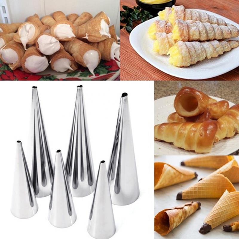 Baking supplies 5pcs DIY Baking Cones Stainless Steel Spiral Baked Croissants Tubes Horn Pastry Roll