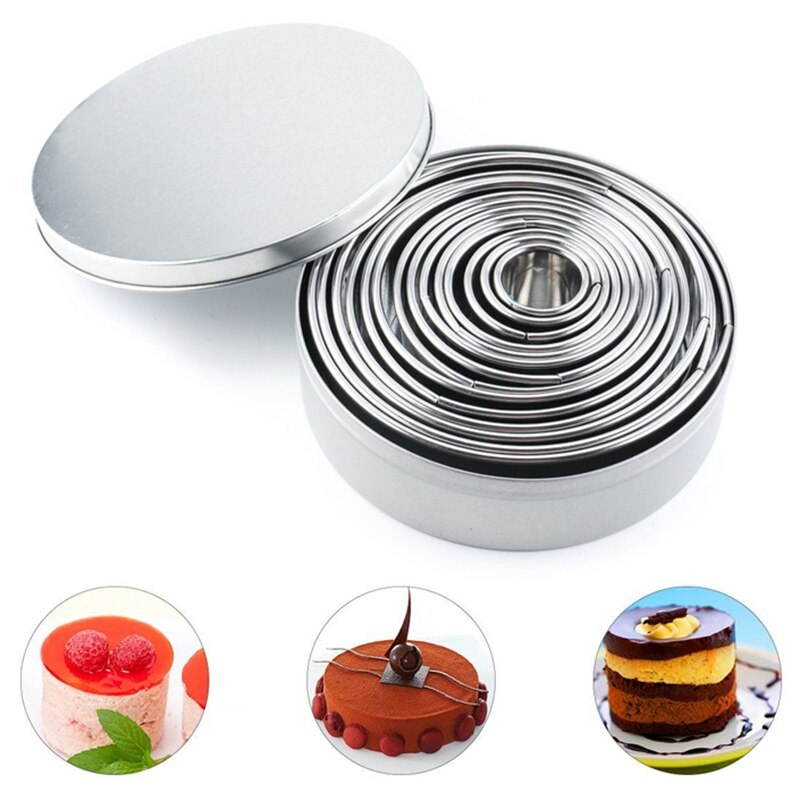 14Pcs/Set Round Cookie Biscuit Cutter Set Stainless Steel Mousse Cake Ring Mold Pastry Biscuit