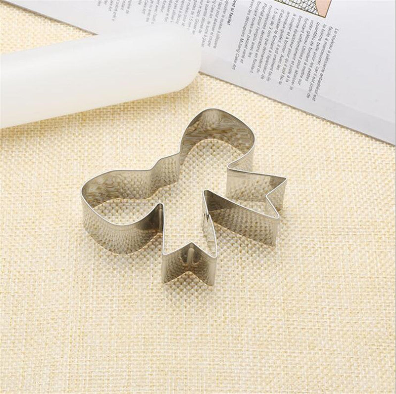 Bow Cookie Tools Cutter Mould Biscuit Press Icing Set Stamp Mold Stainless Steel Bakeware