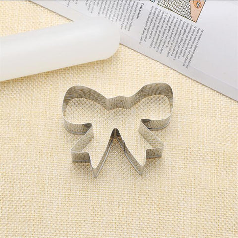Bow Cookie Tools Cutter Mould Biscuit Press Icing Set Stamp Mold Stainless Steel Bakeware For