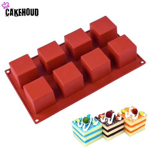 CAKEHOUD 8 holes Small Square 3D Shape Non-Stick Silicone Cake Mold for Baking DIY Jelly Muffin
