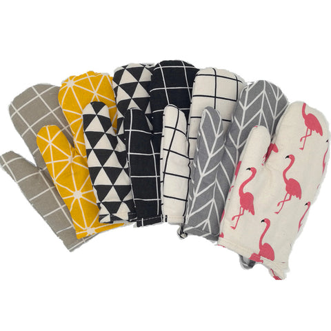 CFen A's 1PC Kitchen Cooking Cotton Fabric Oven Gloves Non-slip Gloves Thickening High Temperature