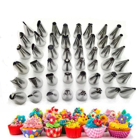 Cake Decorating 48Pcs/set Good Quality Stainless steel Icing Piping Nozzles Pastry Tips Set Cake