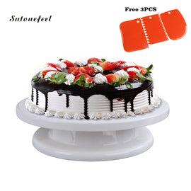 Cake Decorating Turntable Rotating Cake Stand with 3PCS Icing Smoother Cake Base with Pastry