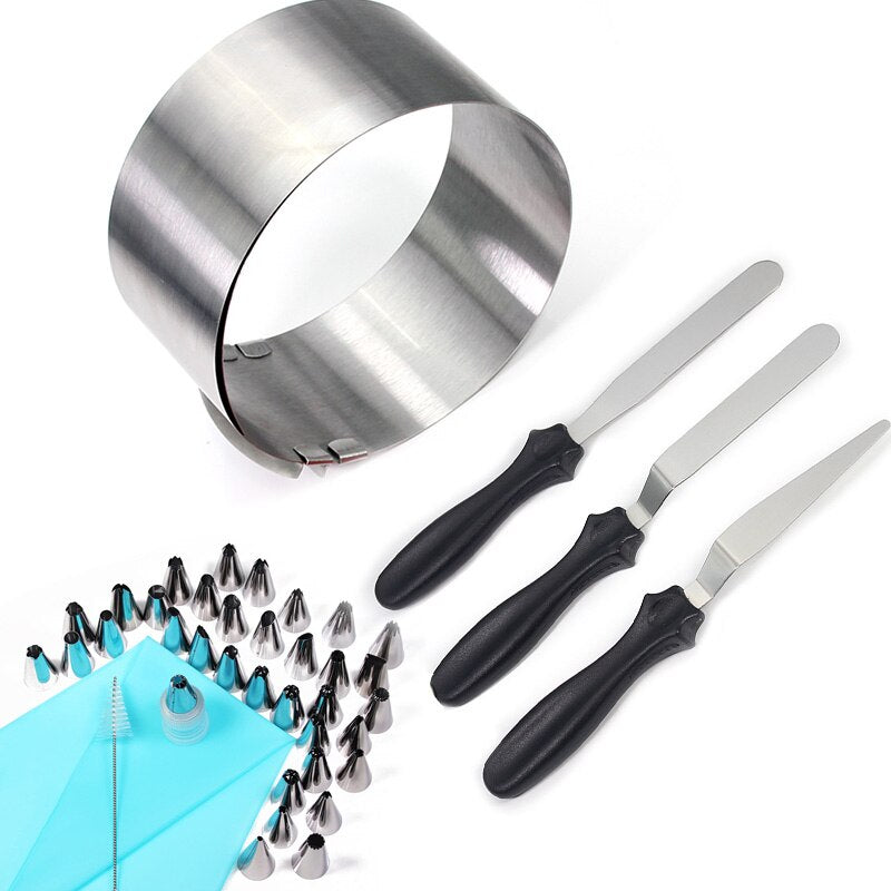 Cake decorating tools 41-piece, 1 Adjustable Cake Mousse Mould 35 Icing Tips 3 Icing Spatula 1